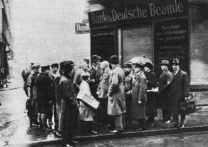 """Em Berlin, os funcionários do banco """"Deutsche Bank für Beamte"""" mandam suspender os pagamentos devido a crash da bolsa em 1929"""
